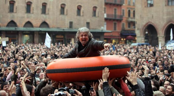 Bepe Grillo enjoys the crowd at M5s V Day