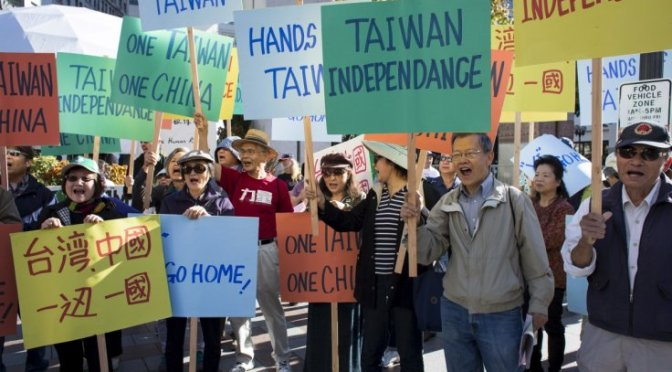 Protesters in Taiwan demand independence from mainland China