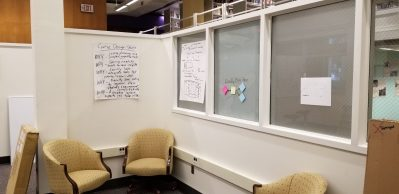 room with frosted windows and large sticky notes