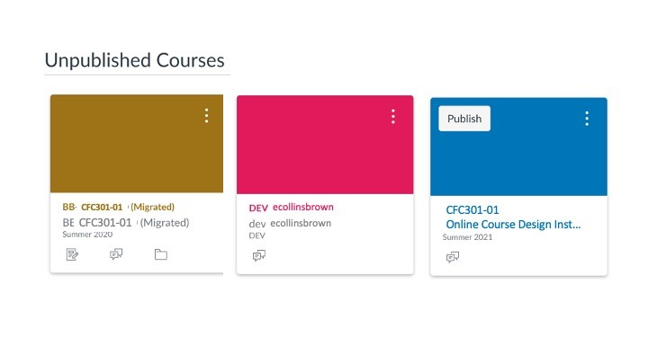 unpublished courses on the Canvas Dashboard