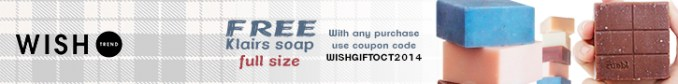 Use coupon code and get free full size Klairs soap wishtrend.com!