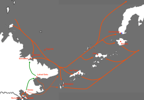 Smuggling routes in the approximate area of the Royal Hashemite Sultanate of Sulu and North Borneo, a defunct political entity. A number of factors have contributed to both abundance of and demand for weapons that are easily trafficked into and out of the Sulu Arms Market.Source: https://bookshop.iseas.edu.sg/