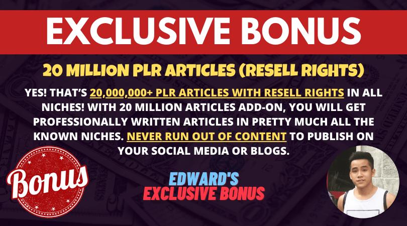 bonus 20 million plr articles resell rights