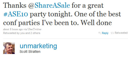 Scott Stratten on the ShareASale party at Affiliate Summit East 2010