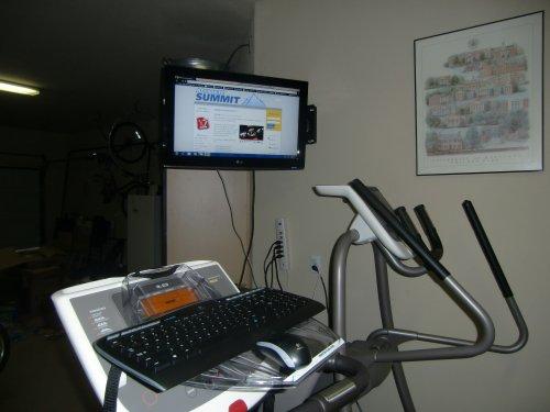 Treadmill desk with SurfShelf