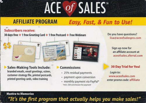 Ace of Sales affiliate recruiting postcard