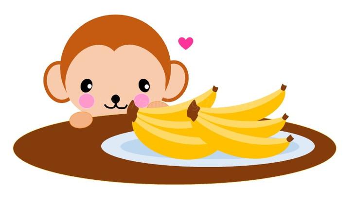 バナナをみるサル