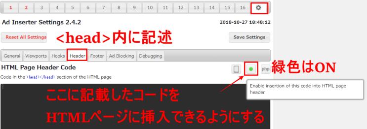 Ad InserterのHTMLページ挿入