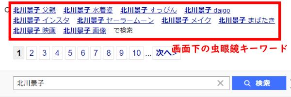 Yahoo!JAPAN虫眼鏡キーワード下