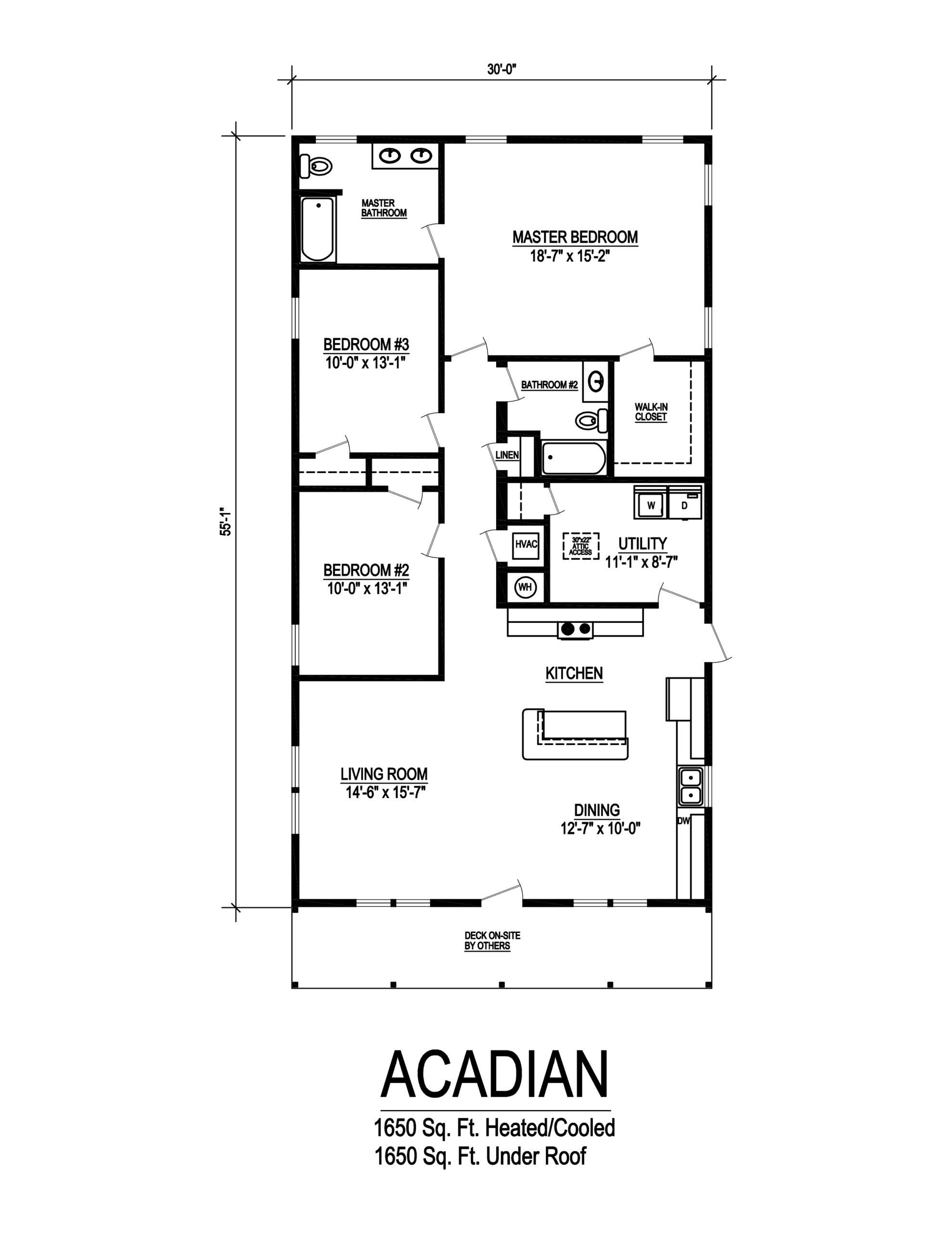 acadian modular home floor plan
