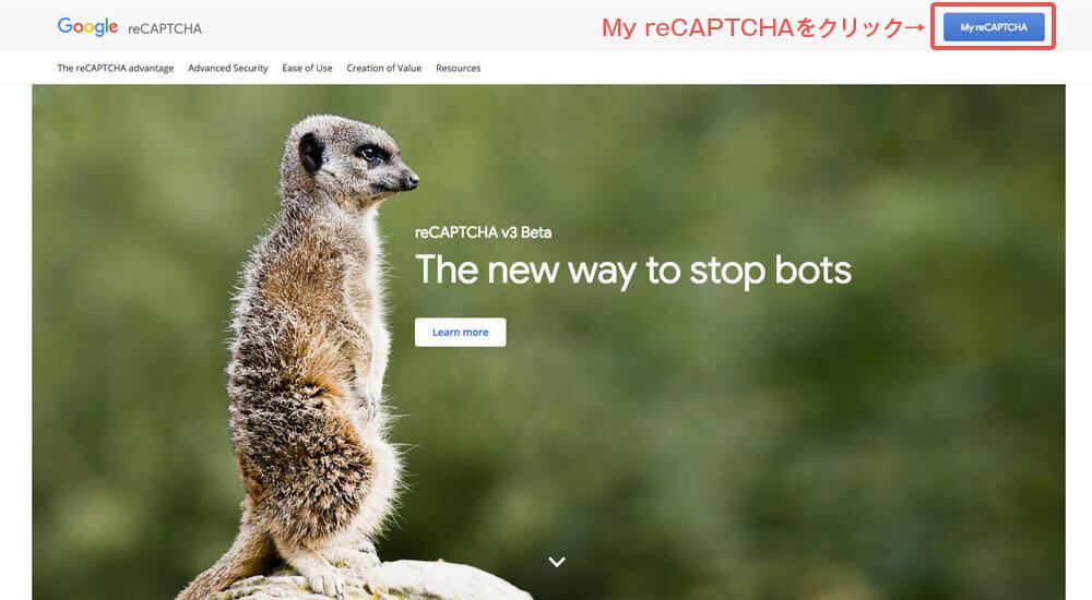 My reCAPTCHAをクリック