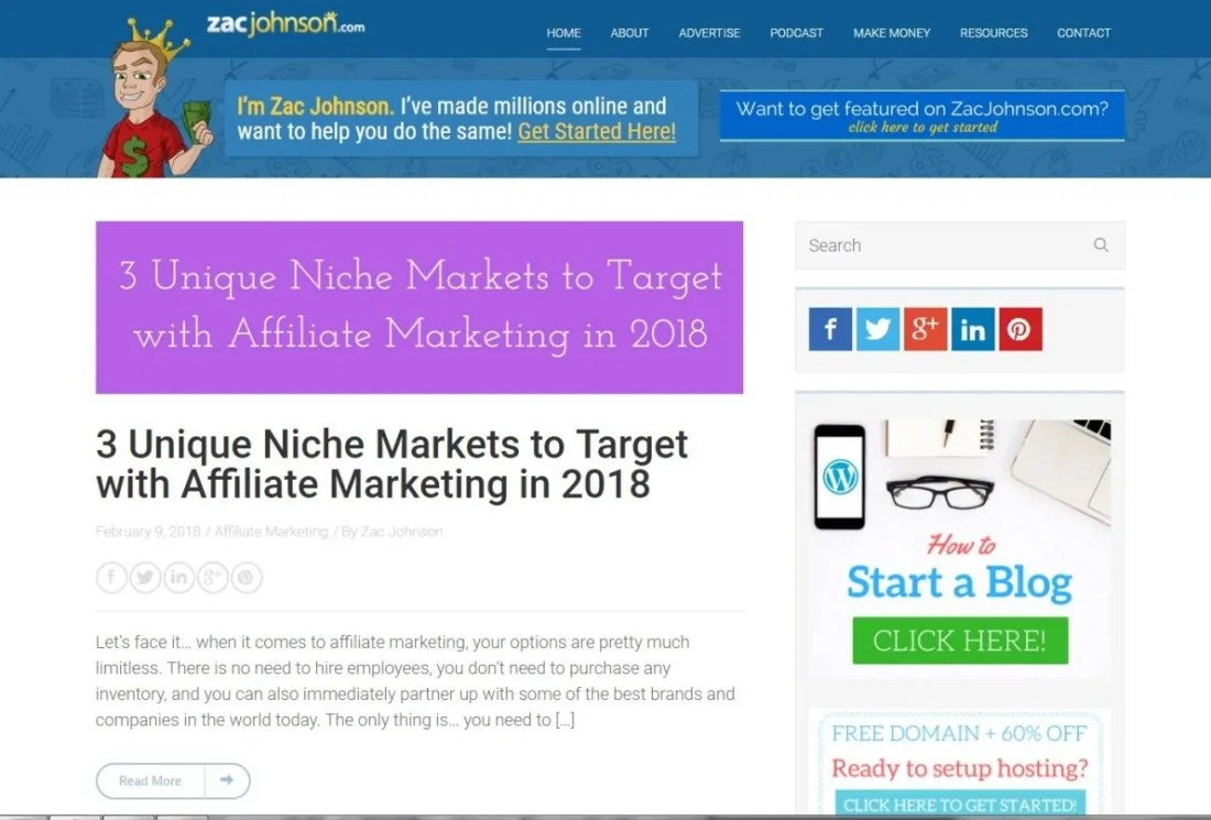 Blog Zac Johnson Affiliate Marketing