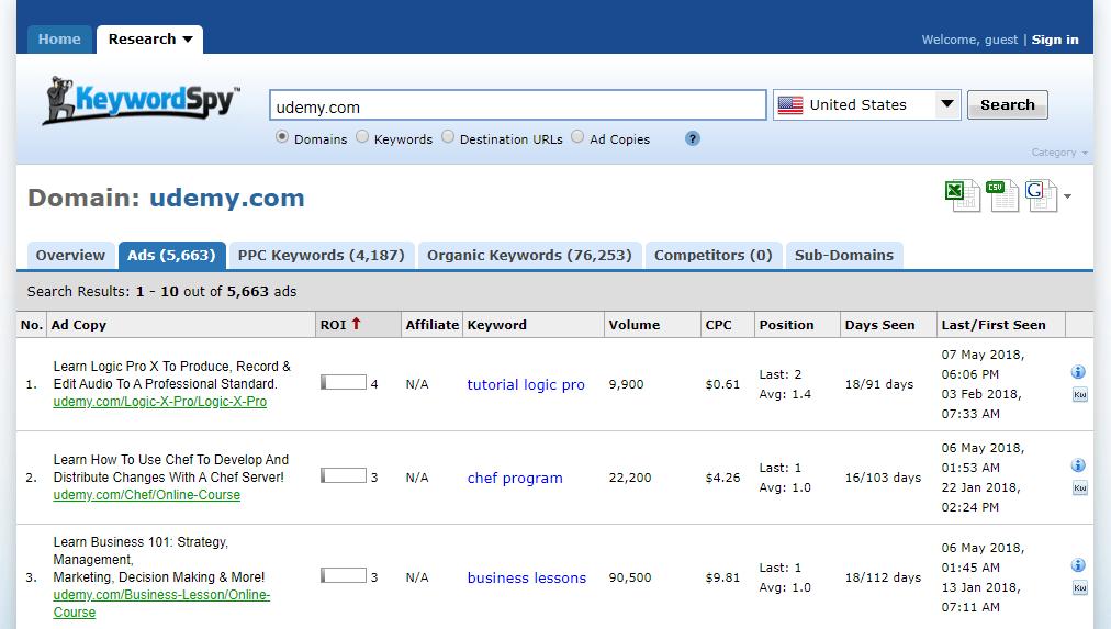 keyword spy tool preview