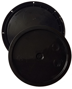 345 round pail lid black