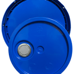 345 round pail lid with spout chevron blue