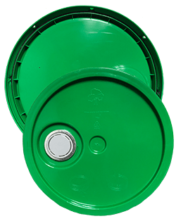 345 round pail lid with spout green