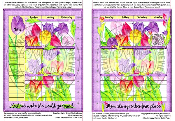 Free Printable Mother's Day Tulip themed Quick Pages for the Classic Happy Planner by KathysScraps