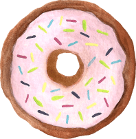 FREE watercolor donut clip art with sprinkles