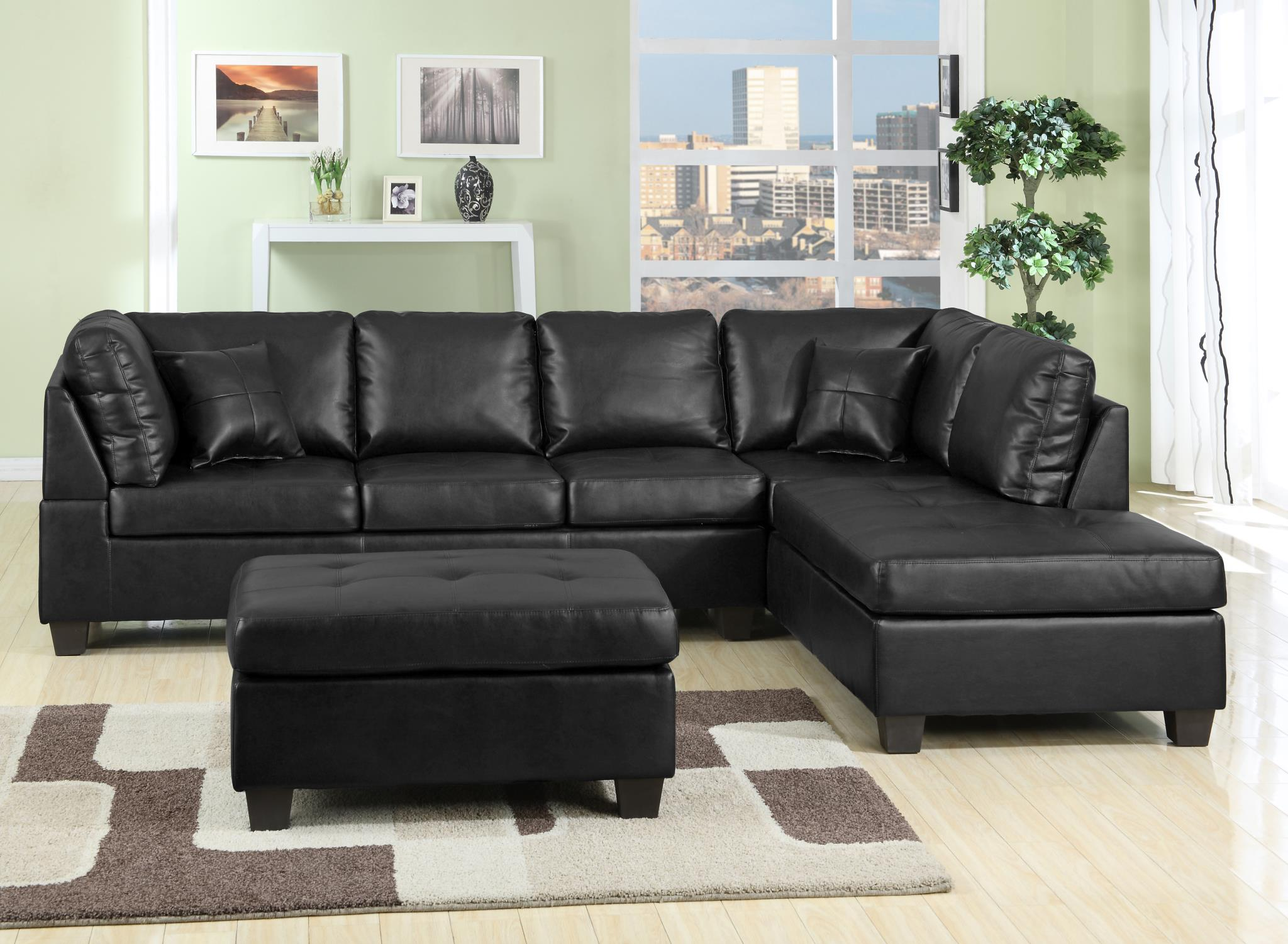 new jersey 2 pc black or brown sectional