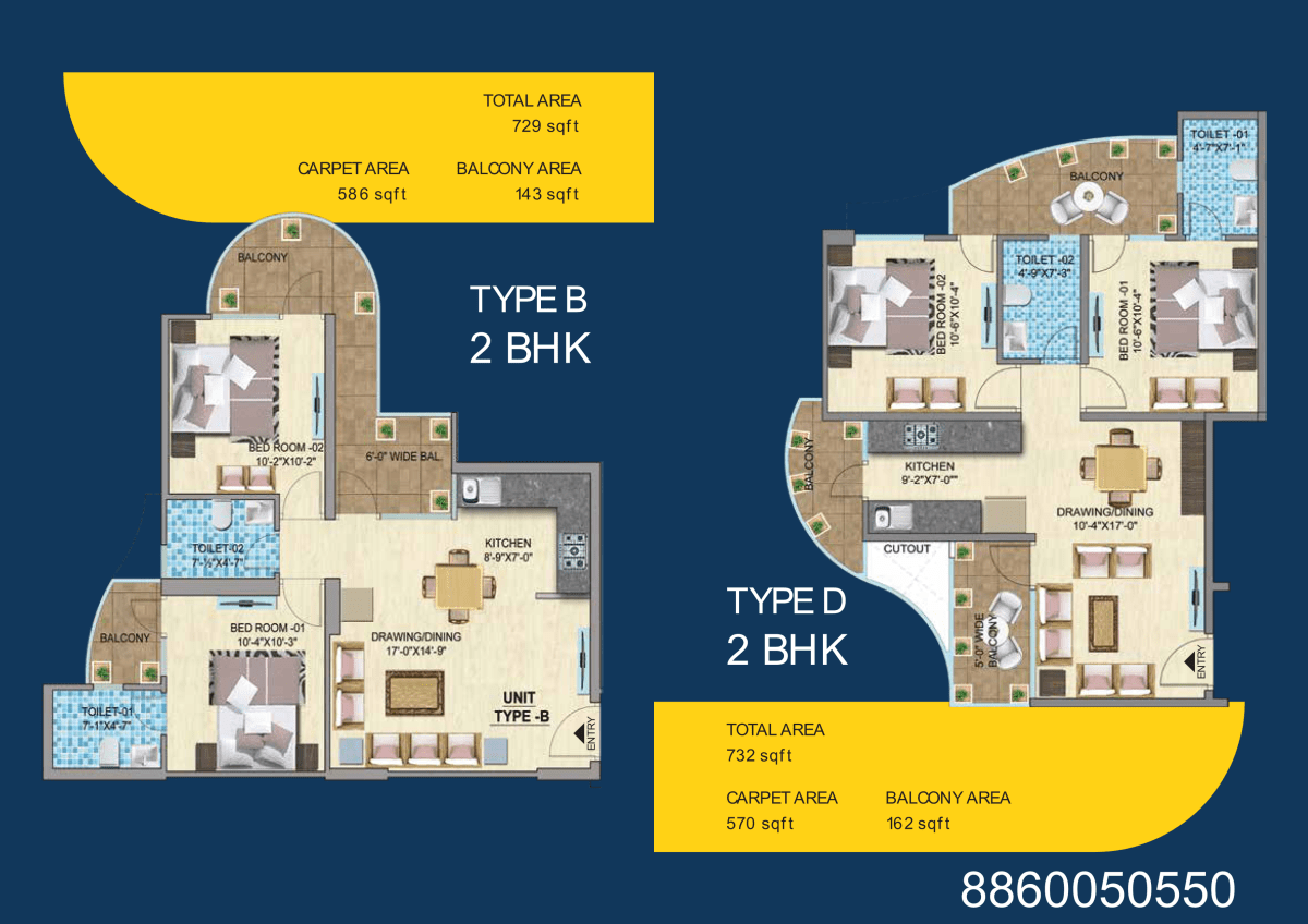 Type b-d 2bhk mahira homes 103