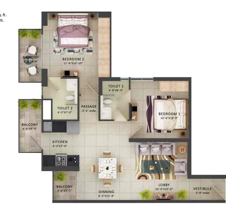 Type A- 2BHK The Meridian
