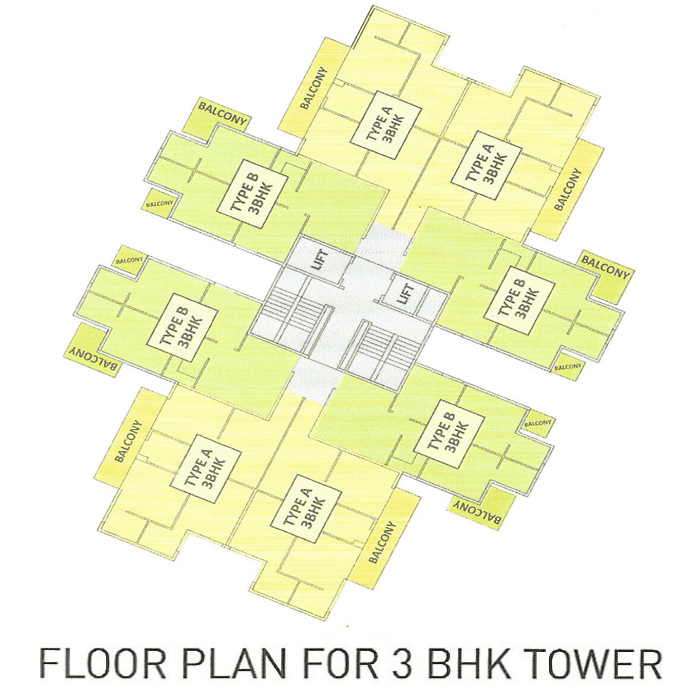 Pyramid Altia Floor Plan For 3 BHK Tower