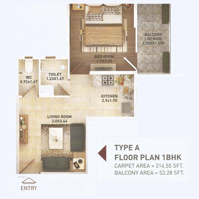 Pyramid 1bhk Type A Layout