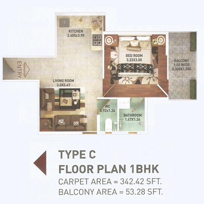 Pyramid 1bhk Type C Layout