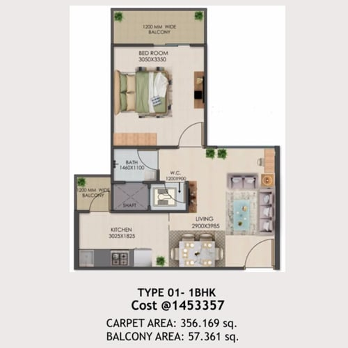 1bhk Type-01 layout of Signature global golf green.