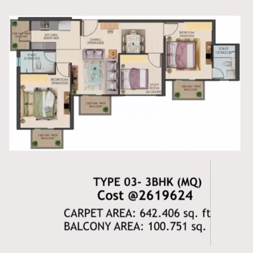 3bhk Type-03 layout of Signature global golf green.
