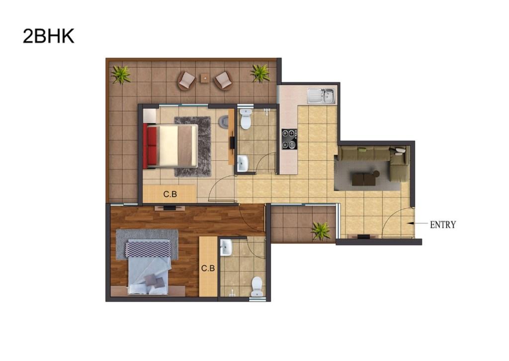 Rof Atulyas 2bhk floor Plan