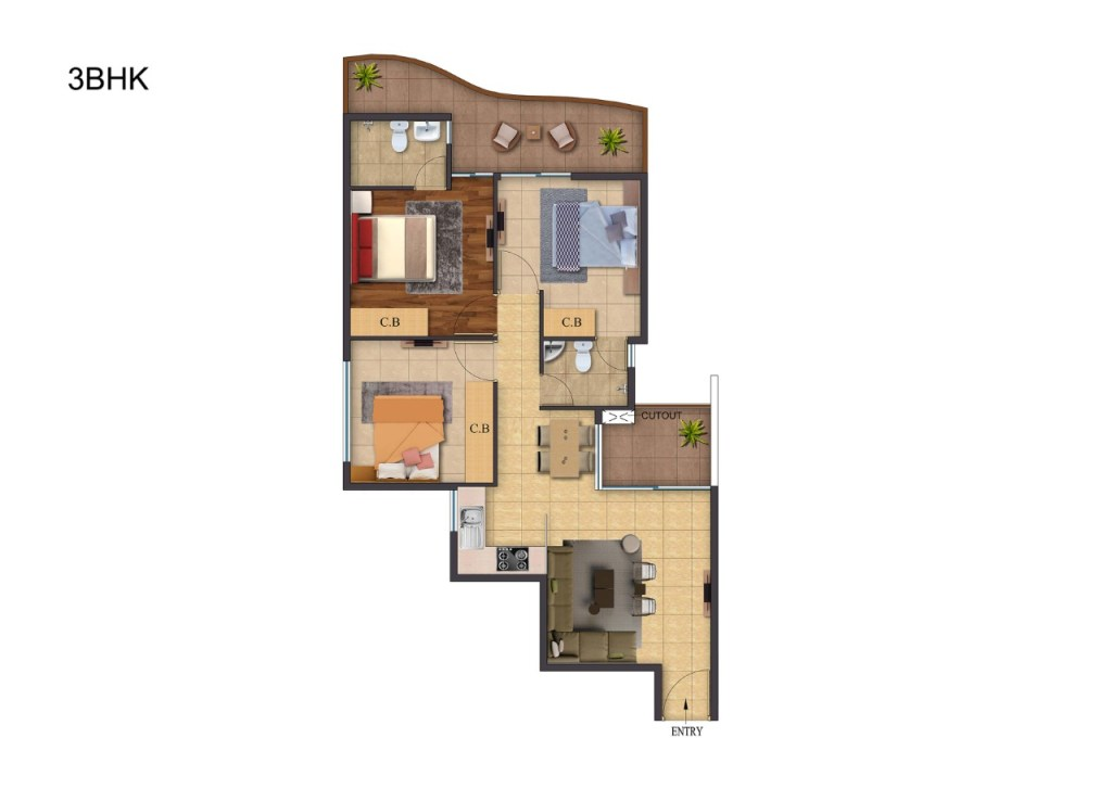Rof Atulyas 3bhk Floor Plan