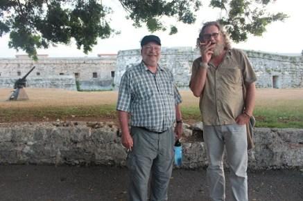 AfGJ's Chuck Kaufman and James Jordan outside the Fortress of San Carlos de la Cabaña in Havana