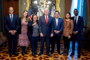 "Lucia Pineda and Miguel Mora met with US Vice President Mike Pence where he assured them he ""would not leave the Nicaraguan people alone."" Photo: The White House"