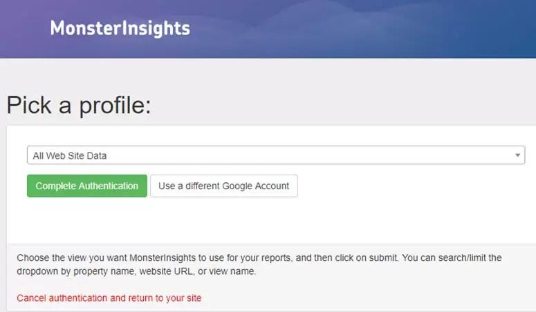 حدد ملف تعريف موقع الويب الصحيح