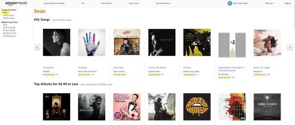 المواد الصوتية المجانية من موقع أمازون Amazon.com: Deals: Digital Music