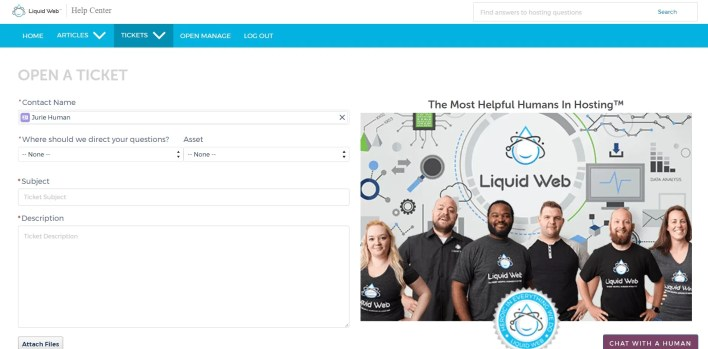 نظام الدعم الفني فى Liquid Web