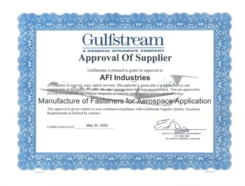 Gulfstream certificate for AFI Industries