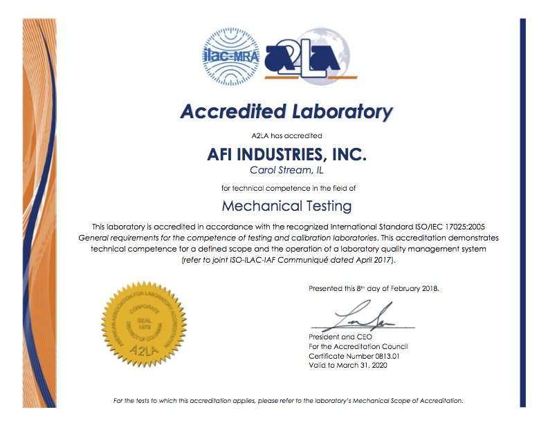 AFI A2LA ISO 17025-2005 cert 0813-01 expires March 31, 2020-4