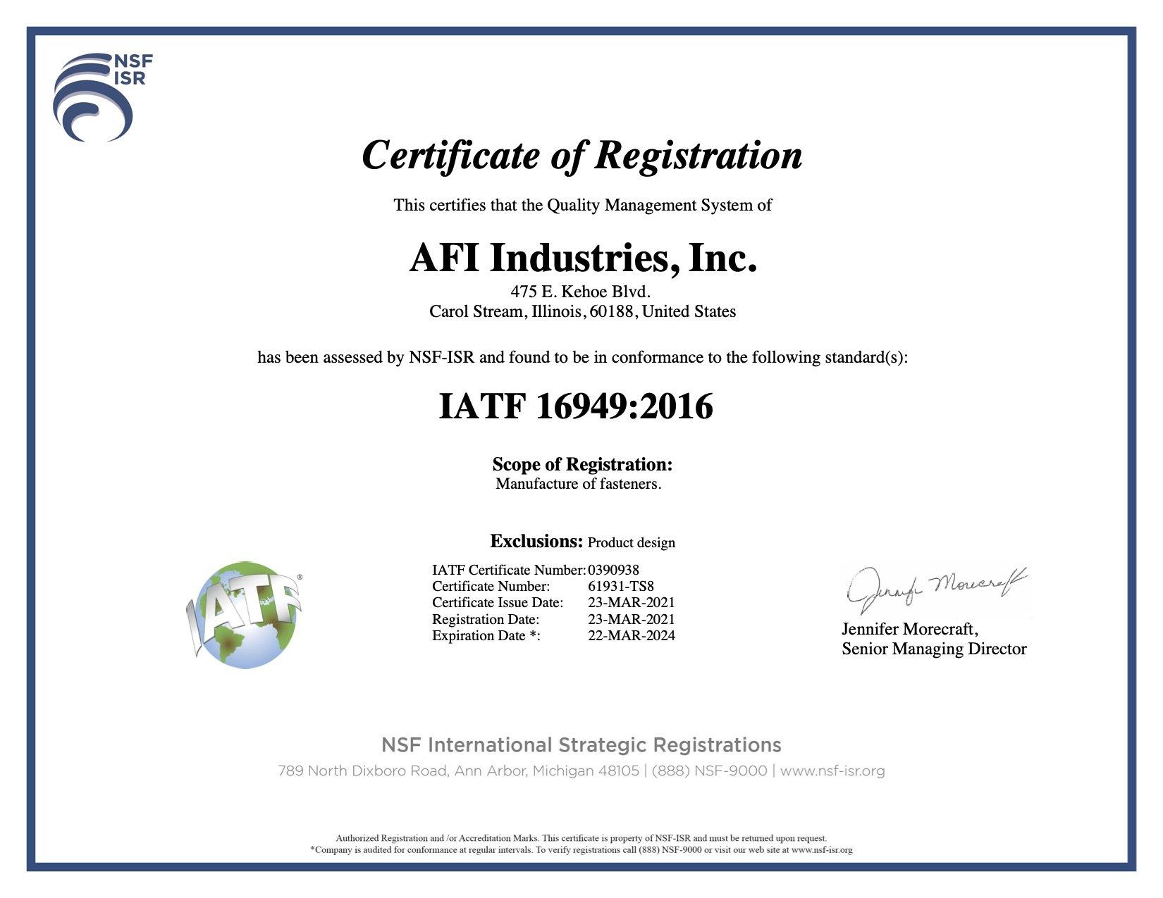 IATF 16949 2016 certificate for AFI Industries