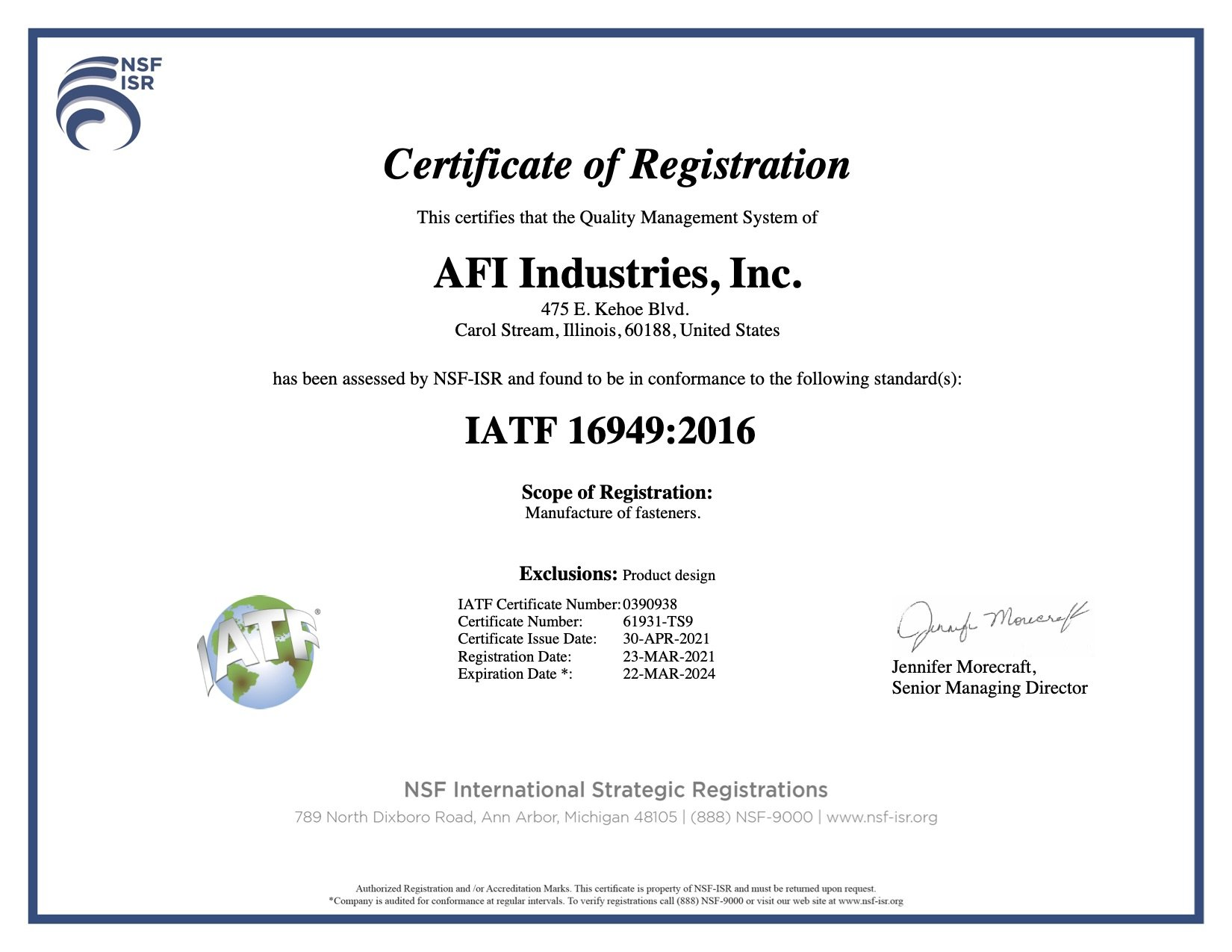 IATF 16949 2016 certificate for AFI Industries