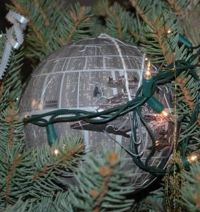 My son has picked up my tendency to use non-ornaments as ornaments.  Though, to be sure, I wasn't aware that the Death Star from Star Wars was very Christmasy...still, it's quite marvelous!