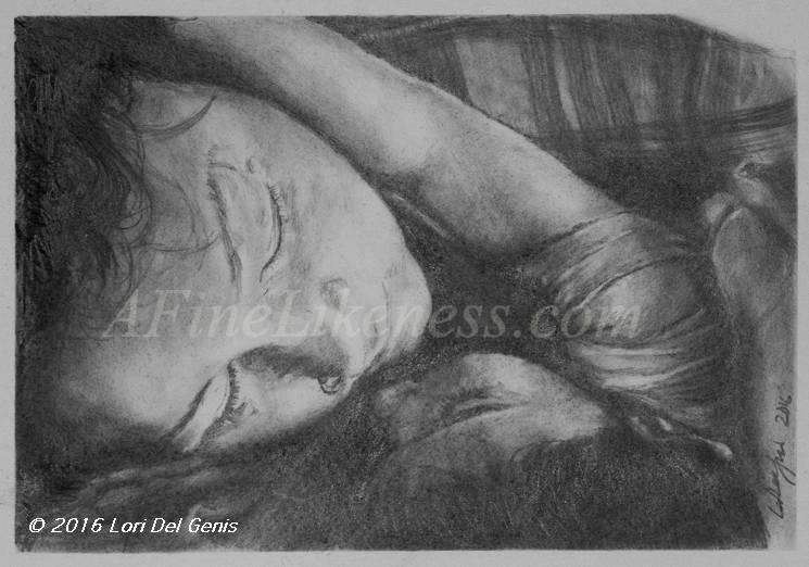 'Quiet Time' - Commissioned Graphite and Charcoal portrait by Lori Del Genis of a sleeping mother holding her sleeping child close in her arms.