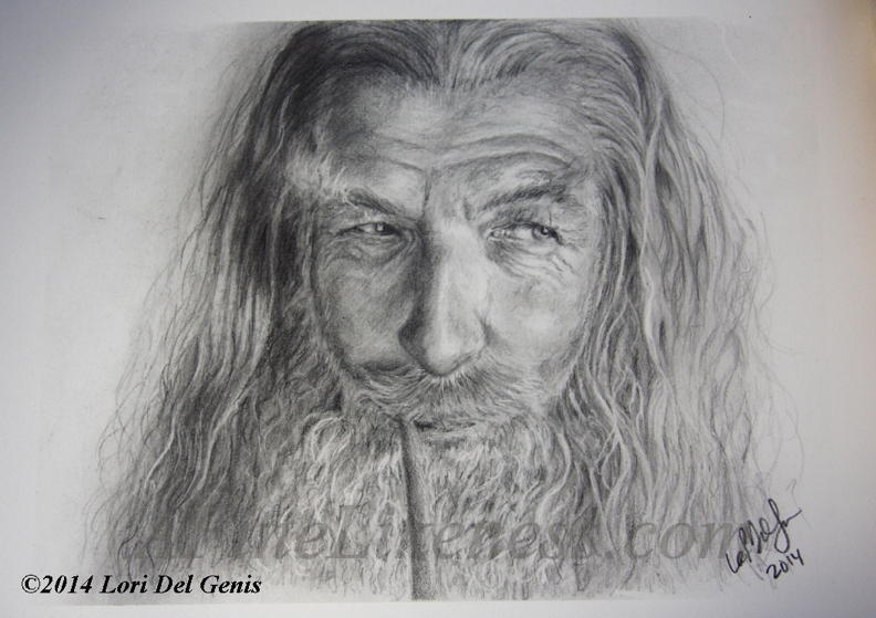 Graphite portrait by Lori Del Genis of Gandalf fan art as portrayed by actor Sir Ian McKellen. Gandalf is a character from the series 'The Lord of the Rings' by J.R.R. Tolkien. He is shown smoking a pipe and smiling amusedly.
