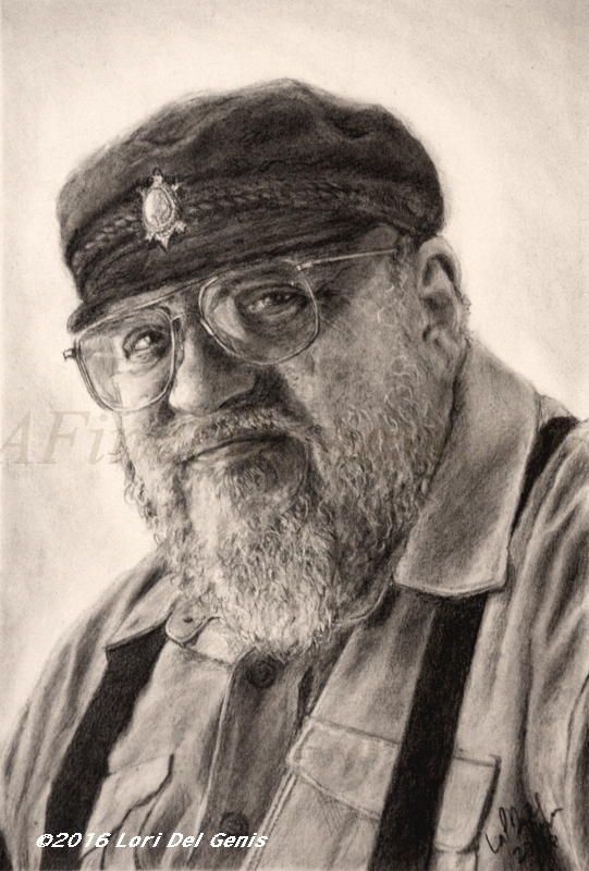 'The Wedding Planner' - Charcoal portrait by Lori Del Genis of George R.R. Martin fan art. GRRM is the author of the book series 'A Song of Ice And Fire' from which from the TV series 'Game of Thrones' was created.