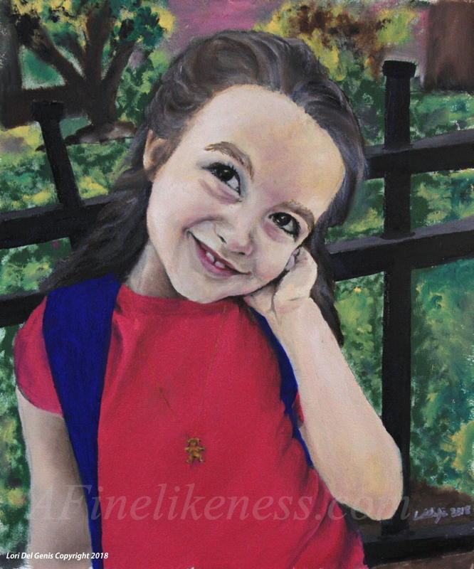 'Roo, age 10' - Commissioned Oil portrait by Lori Del Genis of a girl standing in front of a fence and smiling. She has brown hair and is wearing a pink dress.