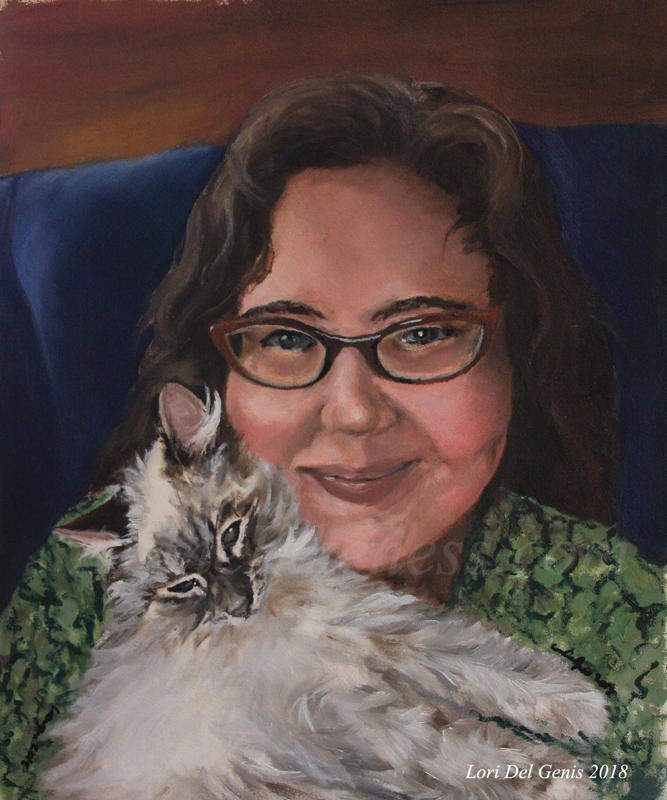 Oil portrait by Lori Del Genis of a white floofy kitten and her person, Meredith. The human is smiling and wearing glasses, the kitten is smiling and being floofy.