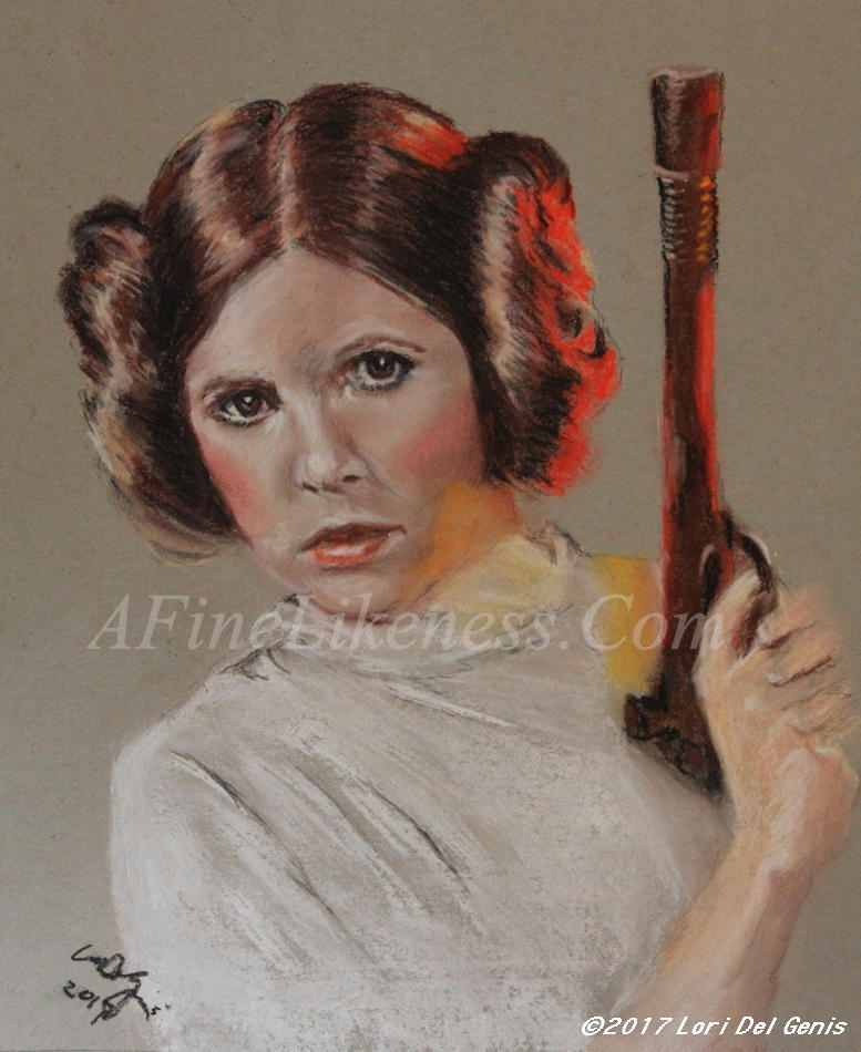 Soft pastel portrait by Lori Del Genis of Princess Leia fan art as played by the actress Carrie Fisher from Episode IV (A New Hope) from the 'Star Wars' movie series. Princess Leia is shown holding a blaster and ready to defend herself. [Winner of the Arisia Art Show 2016 People's Choice Award]