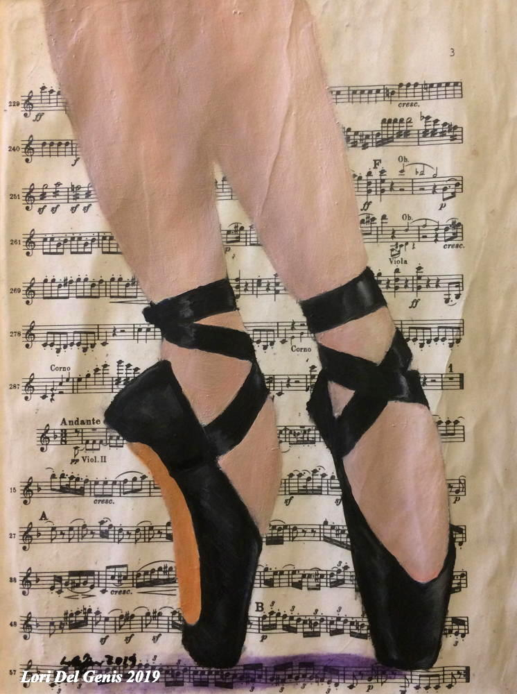 'Balance' - A ballerina's feet in black toe shoes on a background of sheet music; oil painting wall art by Lori Del Genis.