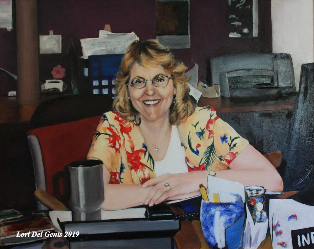 'Mary Todd' - Oil painting of a smiling woman seated at a library reference desk. Original painting by Lori Del Genis (2019).